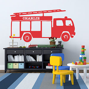 Personalised Fire Engine Vinyl Wall Sticker - bedroom