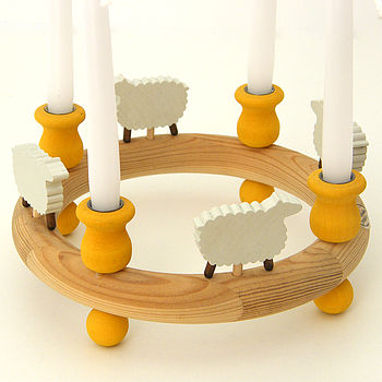 Wooden Candle Ring With Sheep