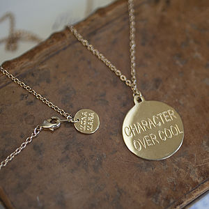 'Character Over Cool' Disc Necklace - necklaces & pendants