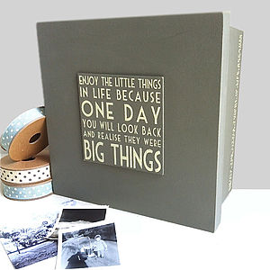 'Enjoy The Little Things' Wooden Keepsake Box - albums & keepsakes