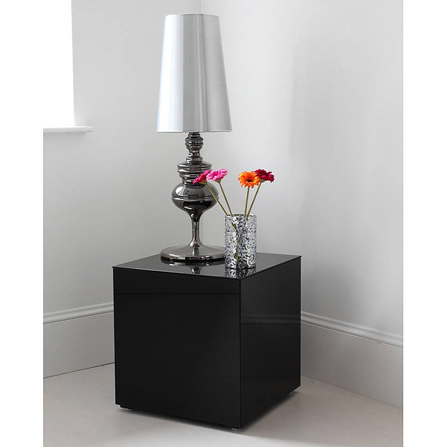 Black Glass Side Table By Out There Interiors
