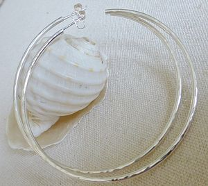 Large Silver Hammered Hoop Earrings - earrings