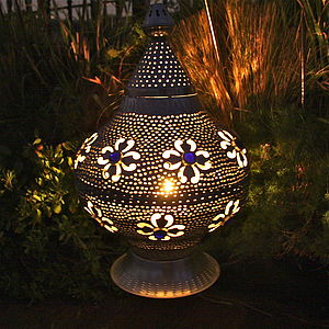 Marrakech Lantern With Indigo Glass Jewels - lighting