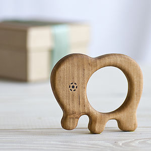 Organic Baby Elephant Teether - traditional toys & games
