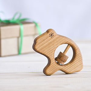 Organic Wooden Frog Baby Rattle