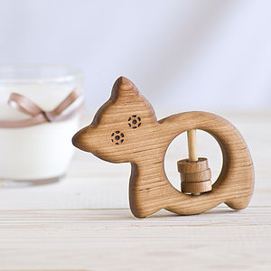 Organic Wooden Baby Rattle Cat - toys & games