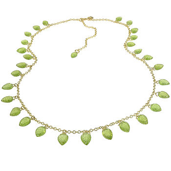 Handmade Peridot Leaf Necklace In 18ct Gold
