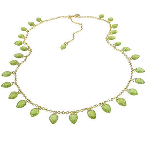 Handmade Peridot Leaf Necklace In 18ct Gold - necklaces & pendants