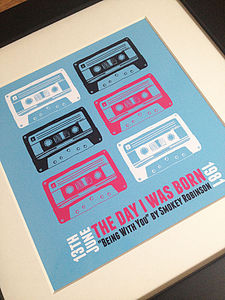 Personalised Number One Retro Cassette Print
