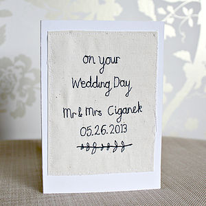 Personalised Wedding Day Textile Card - wedding, engagement & anniversary cards