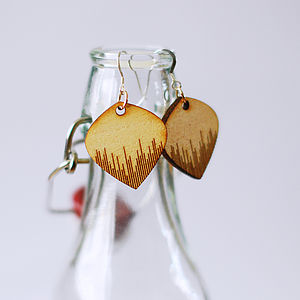 Striped Wooden Earrings - earrings