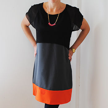Silk Block Shift Dress