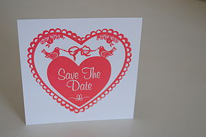 Love Birds Save The Date Cards In Coral