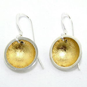 Dome Earrings With Gold Leaf - earrings