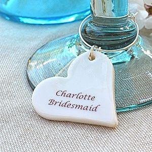 Personalised Wedding Glass Charm - place card holders