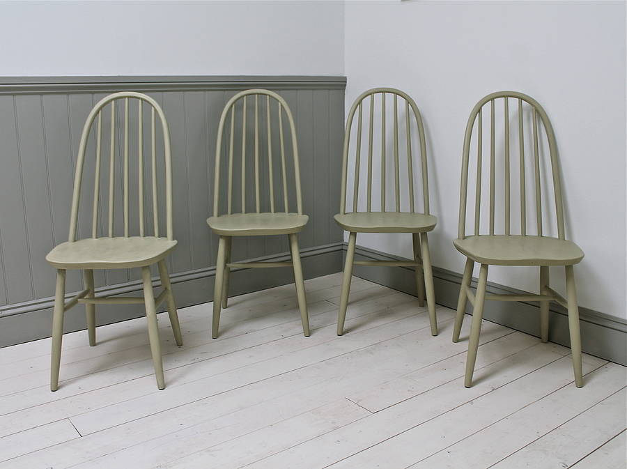 Set Of Four Vintage Spindle Back Chairs By Distressed But