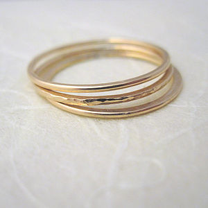 Set Of Three Thin Gold Fill Stacking Rings - rings