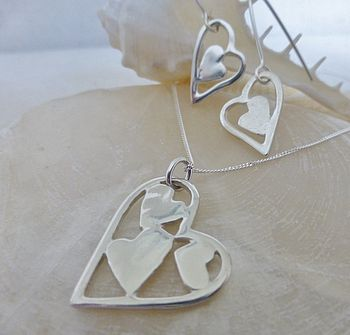 Patchwork Heart Pendant And Drop Earrings