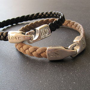 Personalised Braided Leather Bracelet - bracelets & bangles