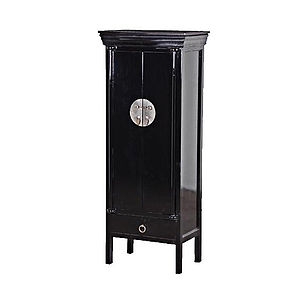 Black Lacquered Chinese Cabinet - furniture