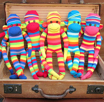 Handmade Colourful Sock Monkeys