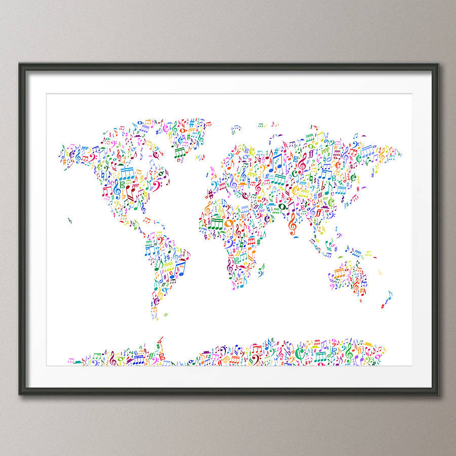Music notes map of the world by artpause notonthehighstreet framed posterart print gumiabroncs Images