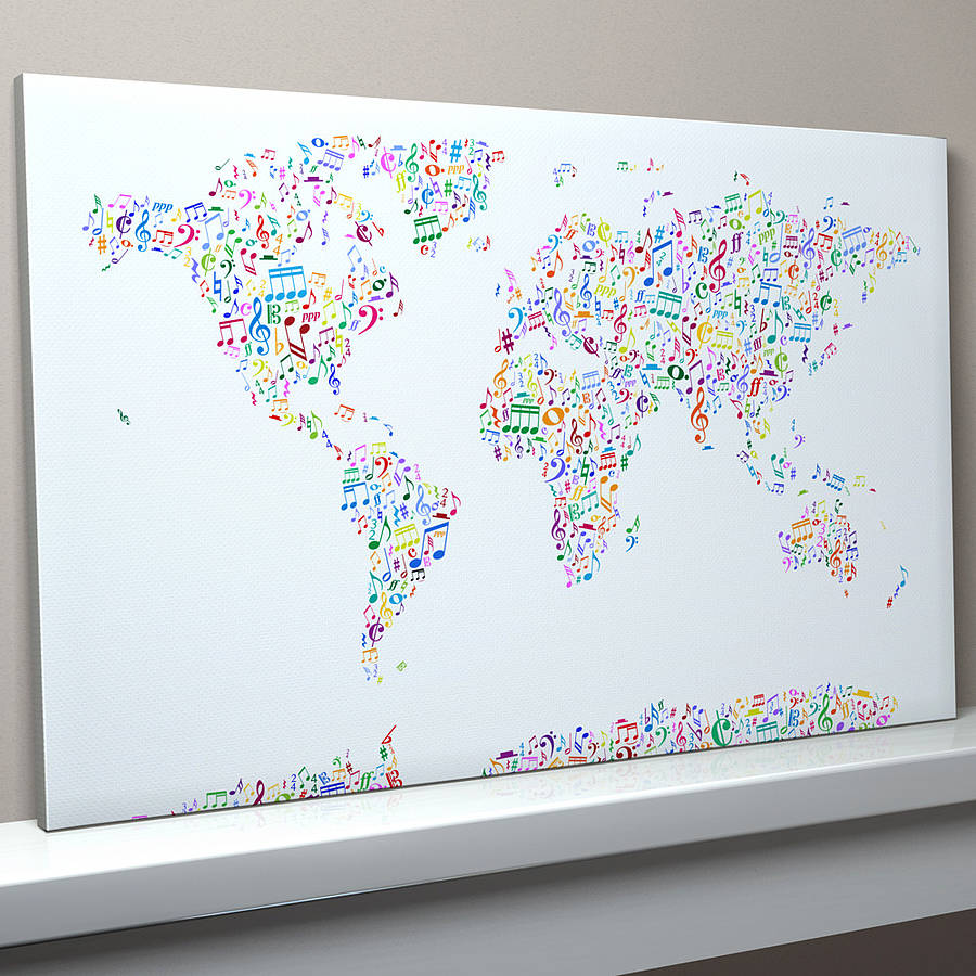 Music notes map of the world by artpause notonthehighstreet music notes map of the world gumiabroncs Gallery