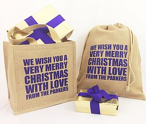 Personalised Christmas Gift Bag Sack - ribbon & wrap