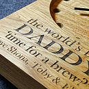 Oak Engraving on Personalised Wooden Clocks
