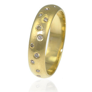 Handmade Chocolate Diamond 18ct Gold Band - rings