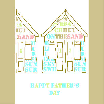 Contemporary Father's Day Beach Huts Card