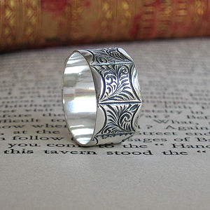 Men's Victorian Style Silver Ring