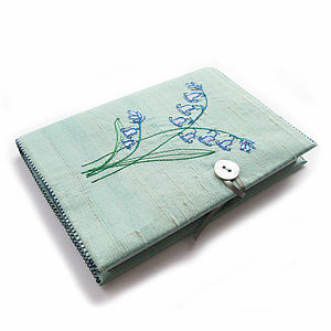 Bluebell Design Freehand Embroidered Notebook - stationery