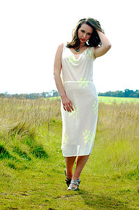 Fluoro Yellow Fern Silk Dress - dresses & skirts