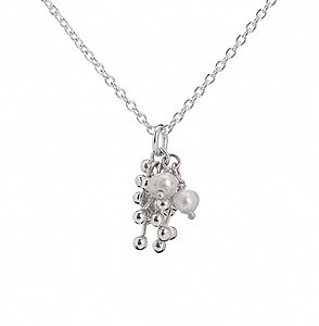 Silver Pearl Cluster Necklace - necklaces & pendants