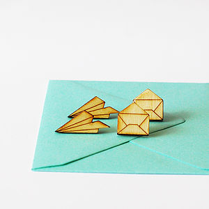 Set Of Paper Plane And Envelope Stud Earrings - earrings