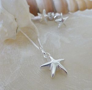 Silver Star Pendant And Stud Earring Set - jewellery