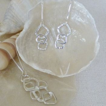 Silver Links Pendant And Drop Earrings Set