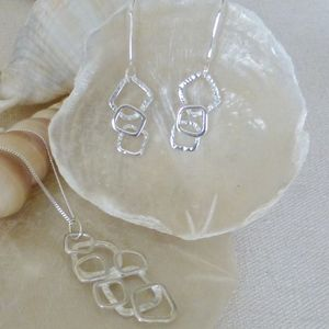 Silver Links Pendant And Drop Earrings Set - jewellery