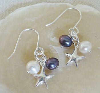 Silver Star And Pearl Earrings