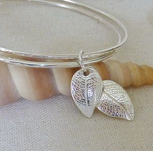 Silver Double Charm Bangle - children's jewellery