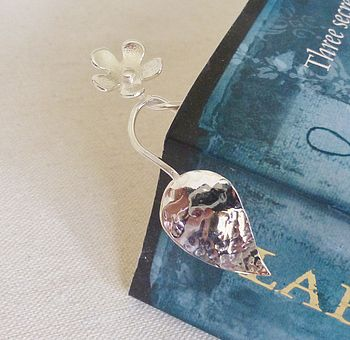 Flower And Leaf Solid Silver Bookmark