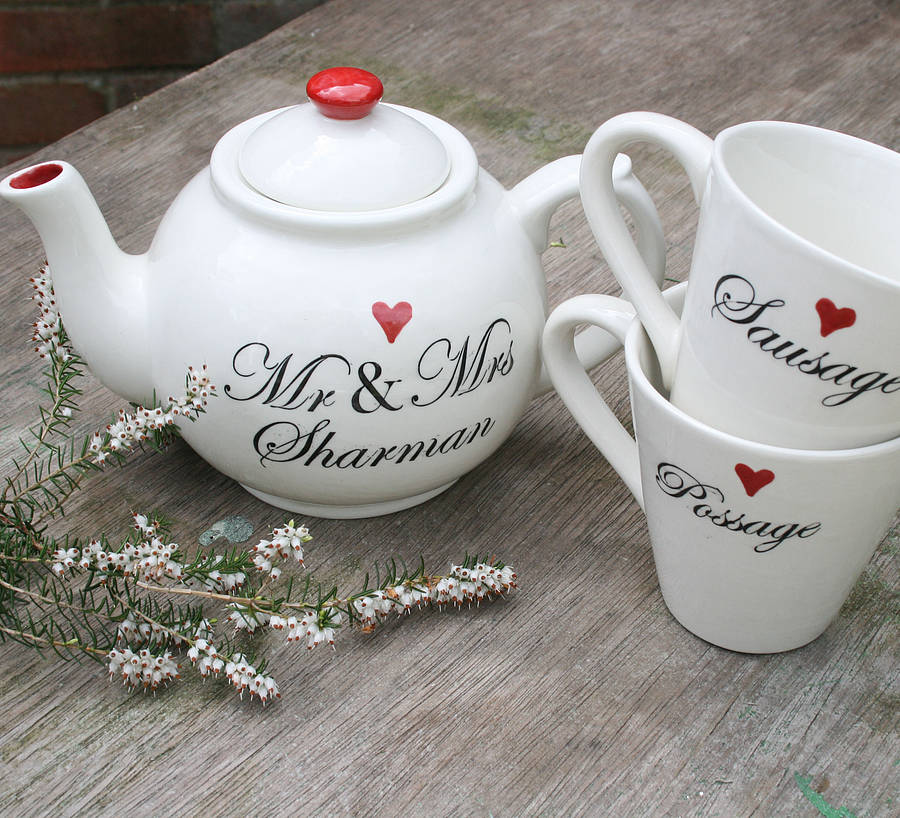 Personalised Wedding Teapot And Mugs By Juliet Reeves