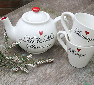 Personalised Wedding Teapot And Mugs - tea & coffee cosies