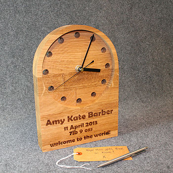 Personalised New Baby Or Christening Clock