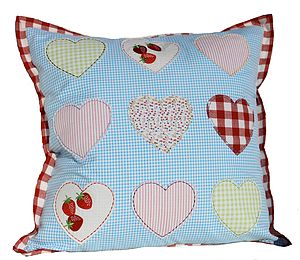 Applique Heart Cushion - embroidered & beaded cushions