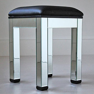 Plain Mirrored Dressing Table Stool - living room