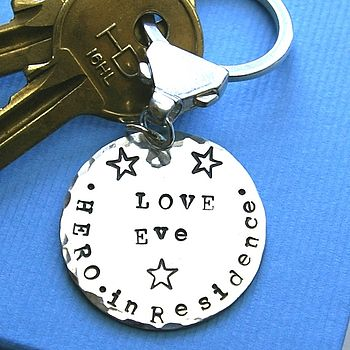 Personalised 'Hero In Residence' Key Ring