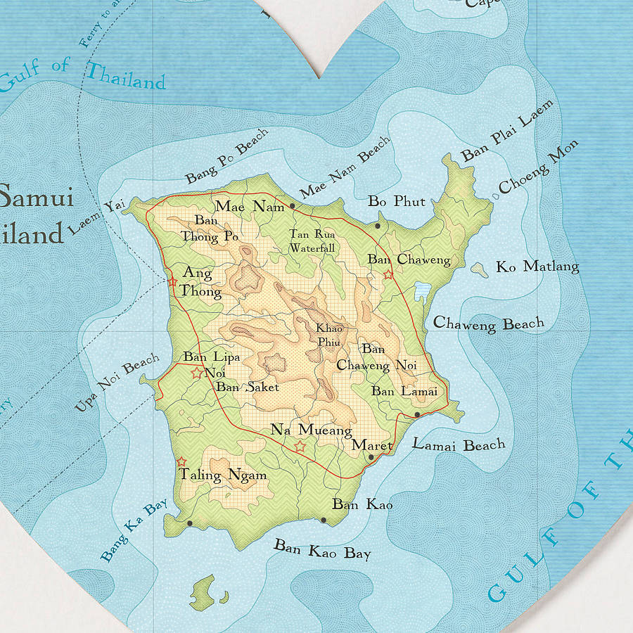 Ko Samui map heart print detail