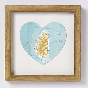St Lucia Map Heart Print - personalised